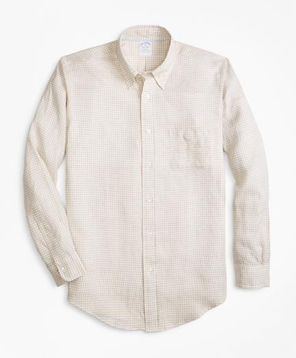 Regent Fit Safari Gingham Irish Linen Sport Shirt