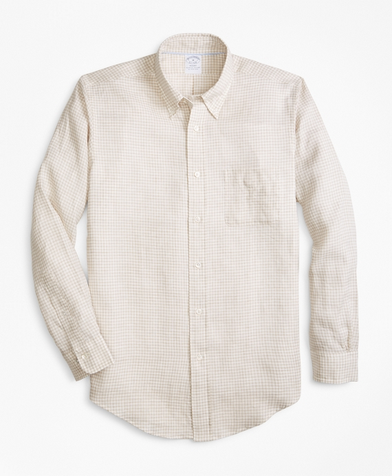 Regent Fit Safari Gingham Irish Linen Sport Shirt