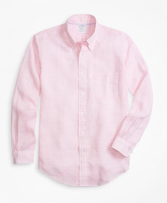 Regent Fit Gingham Irish Linen Sport Shirt Pink