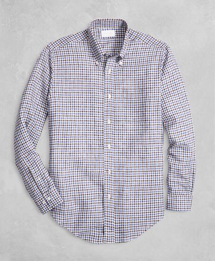 Golden Fleece® Regent Fit Gingham Linen Sport Shirt