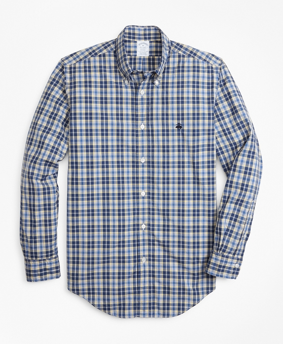 Regent Fit Graph Plaid Zephyr Sport Shirt Blue-Yellow