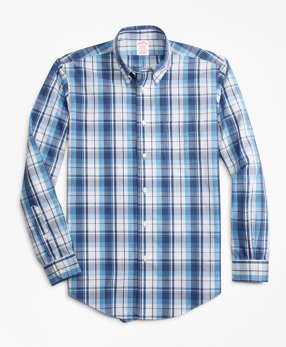 Non-Iron Madison Fit Plaid Sport Shirt Blue