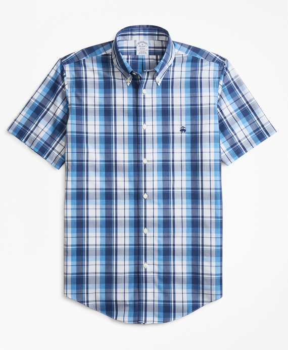 Non-Iron Regent Fit Plaid Short-Sleeve Sport Shirt Blue