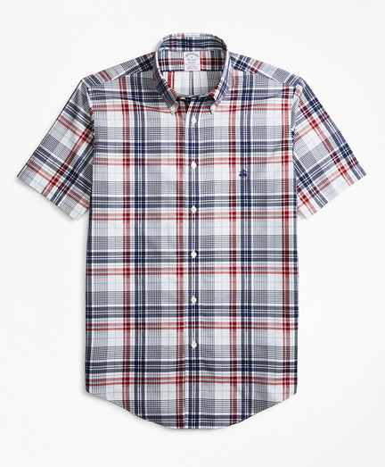 Non-Iron Regent Fit Dobby Plaid Short-Sleeve Sport Shirt