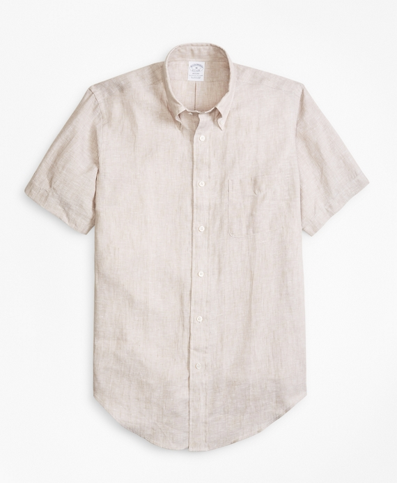 Regent Fit Irish Linen Short-Sleeve Sport Shirt Tan