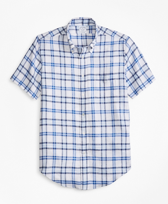Regent Fit Tartan Irish Linen Short-Sleeve Sport Shirt