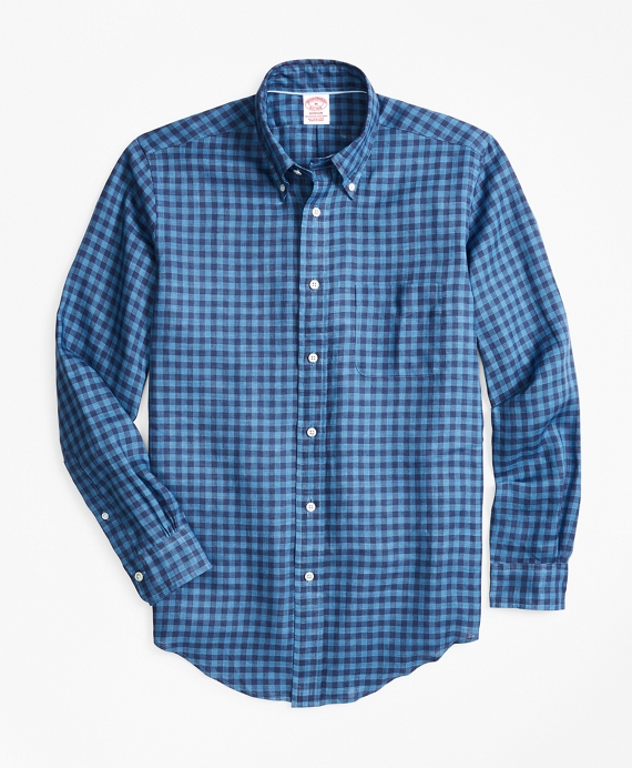 Madison Fit Gingham Irish Linen Sport Shirt