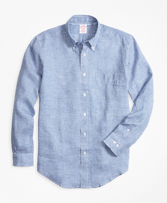 Madison Fit Small Gingham Irish Linen Sport Shirt Blue