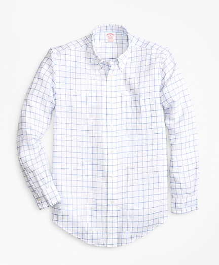 Madison Fit Windowpane Irish Linen Sport Shirt