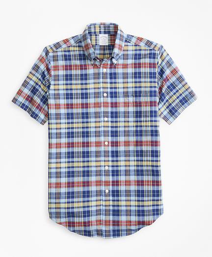 Regent Fit Blue and Yellow Madras Short-Sleeve Sport Shirt