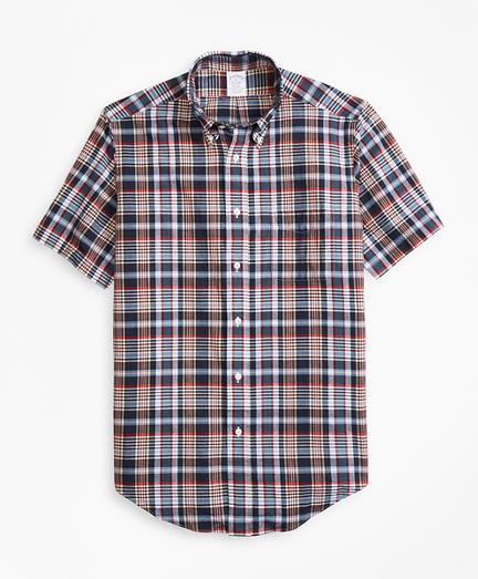 Regent Fit Navy Madras Short-Sleeve Sport Shirt