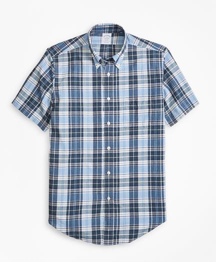Regent Fit Blue Madras Short-Sleeve Sport Shirt
