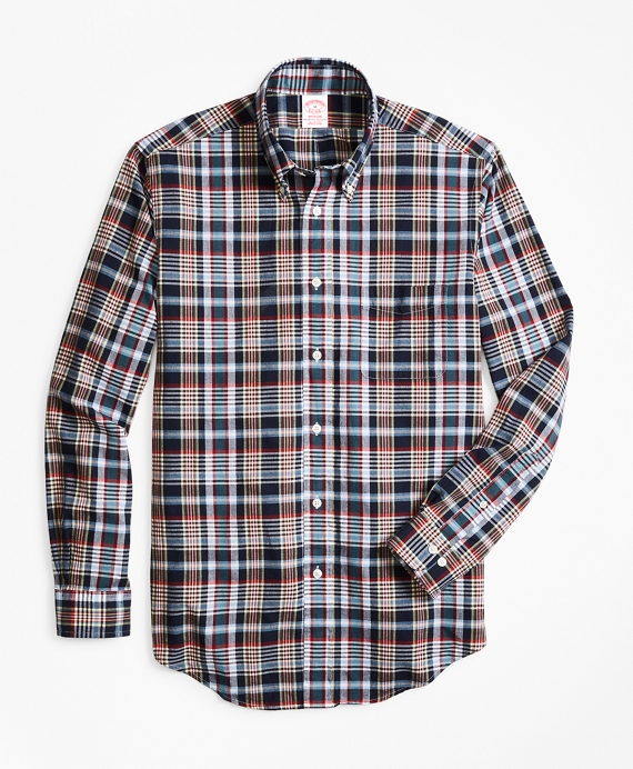 Madison Fit Navy Madras Sport Shirt