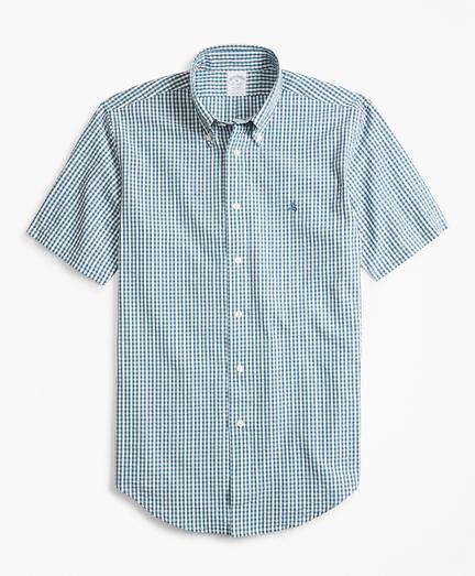 Regent Fit Gingham Seersucker Short-Sleeve Sport Shirt