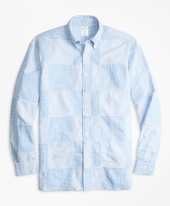 Milano Fit Patchwork Seersucker Sport Shirt Blue