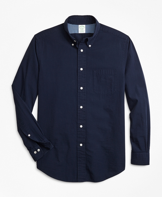 Milano Fit Seersucker Sport Shirt Navy