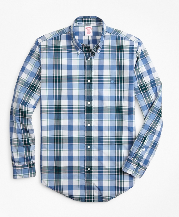 Madison Fit Open Plaid Zephyr Sport Shirt Blue