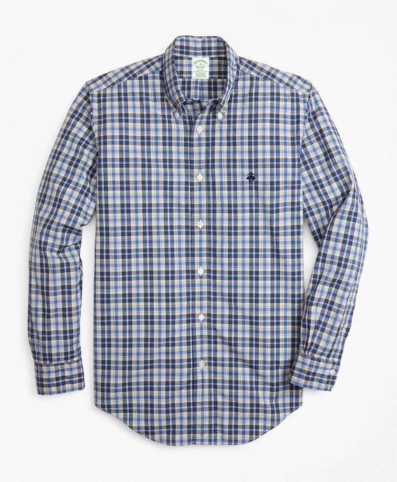 Milano Fit Graph Plaid Zephyr Sport Shirt Blue-Yellow