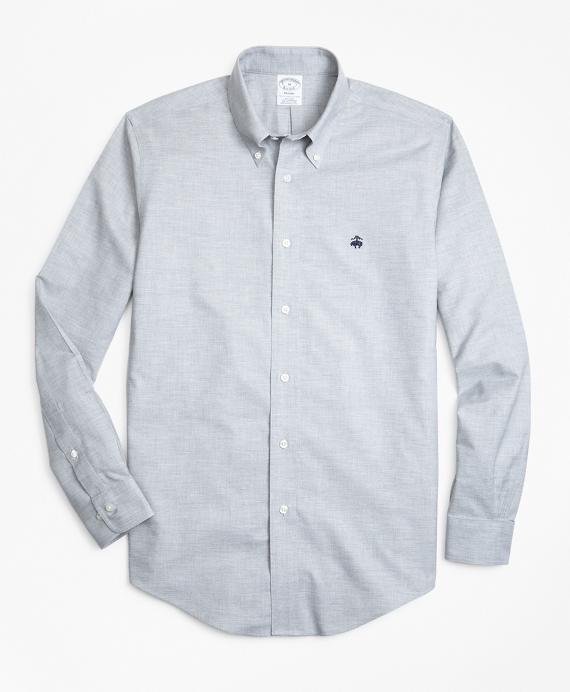 Non-Iron Regent Fit Heathered Oxford Sport Shirt Grey