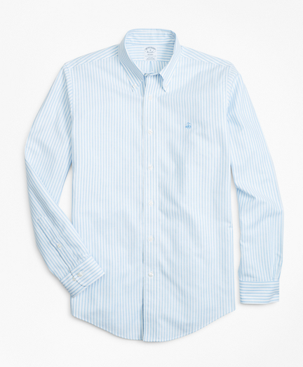 Non-Iron Regent Fit Heathered Oxford Stripe Sport Shirt