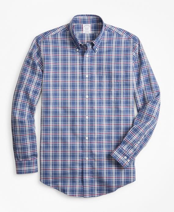 Non-Iron Regent Fit Herringbone Plaid Sport Shirt Navy