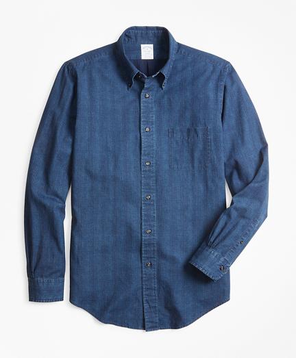 Regent Fit Glen Plaid Indigo Sport Shirt