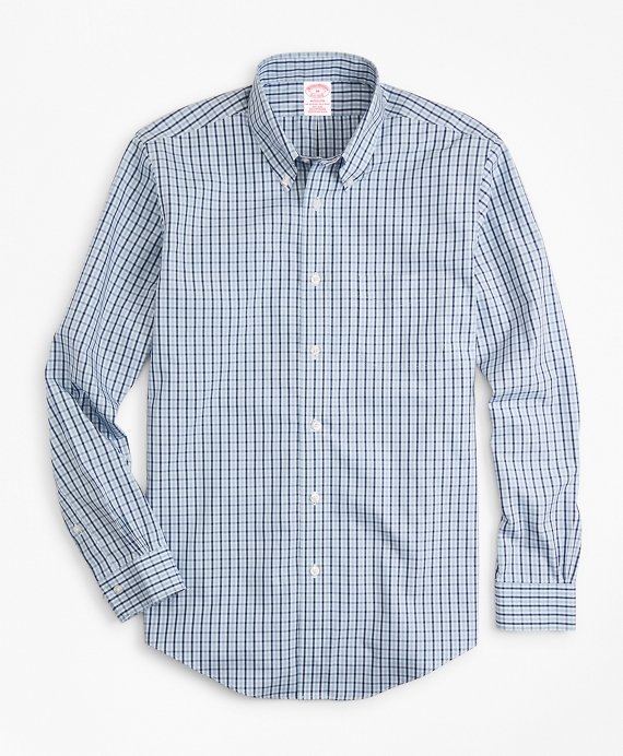 Non-Iron Madison Fit Two-Color Gingham Sport Shirt Blue