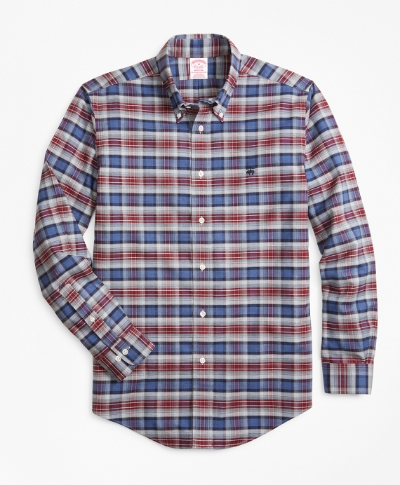 Non-Iron Madison Fit Heathered Plaid Sport Shirt Navy