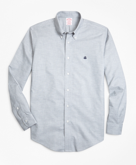 Non-Iron Madison Fit Heathered Oxford Sport Shirt Grey