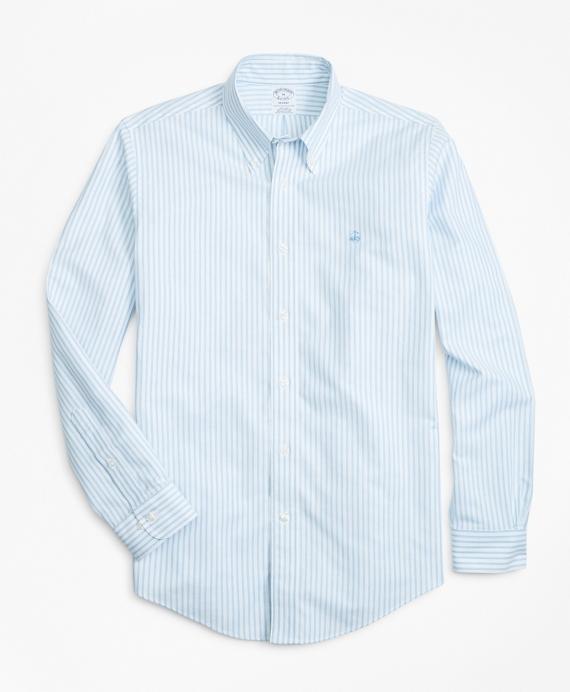 Non-Iron Milano Fit Heathered Oxford Stripe Sport Shirt Blue