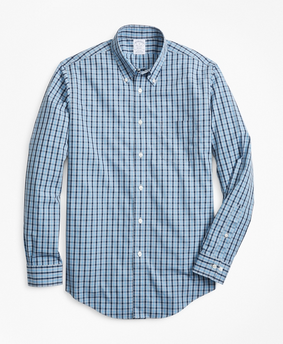 Non-Iron Regent Fit Check Sport Shirt Blue