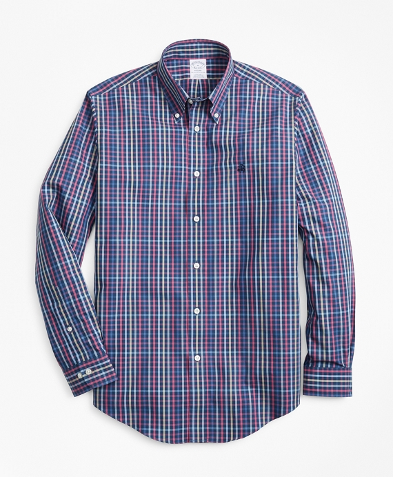 Non-Iron Regent Fit Multi-Plaid Sport Shirt Navy