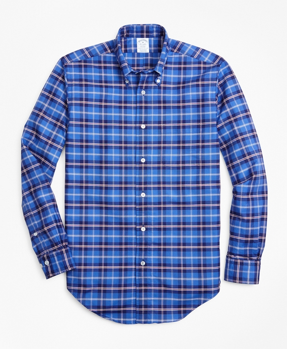 Regent Fit Oxford Plaid Sport Shirt Blue