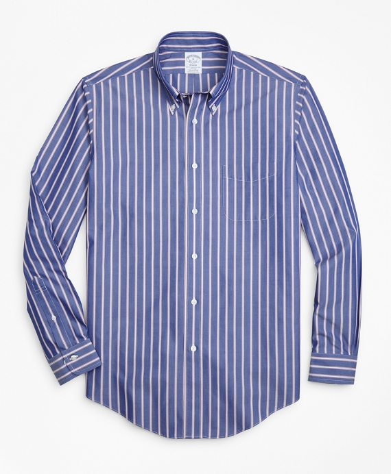 Non-Iron Regent Fit Ribbon Stripe Sport Shirt Blue