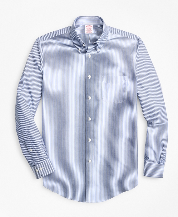 Non-Iron Madison Fit Triple-Stripe Sport Shirt Blue
