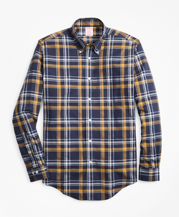 Non-Iron Madison Fit Navy-Gold Plaid Sport Shirt Navy-Gold