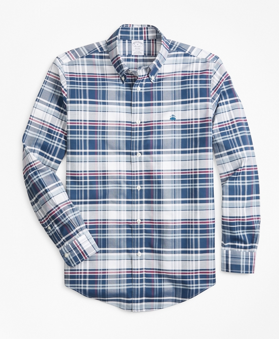 Non-Iron Madison Fit Bold Plaid Sport Shirt Teal