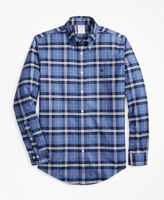 Non-Iron Madison Fit Plaid Sport Shirt Navy