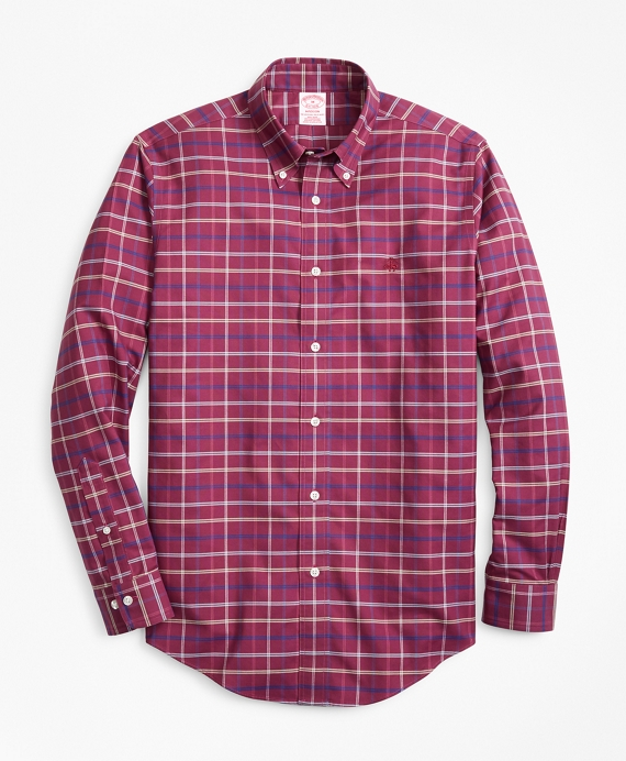 Non-Iron Madison Fit Windowpane Sport Shirt Magenta