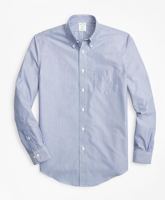 Non-Iron Milano Fit Triple Stripe Sport Shirt Blue