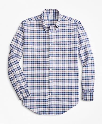 Regent Fit Oxford Blue and Red Plaid Sport Shirt