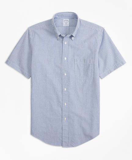 Regent Fit Stripe Seersucker Short-Sleeve Sport Shirt
