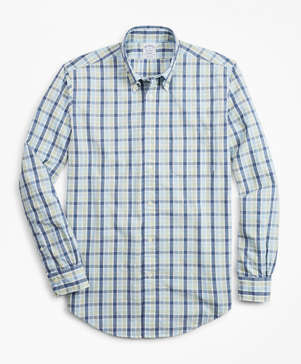Regent Fit Plaid Seersucker Sport Shirt