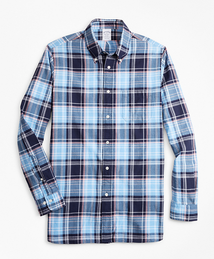 Regent Fit Blue Madras Sport Shirt