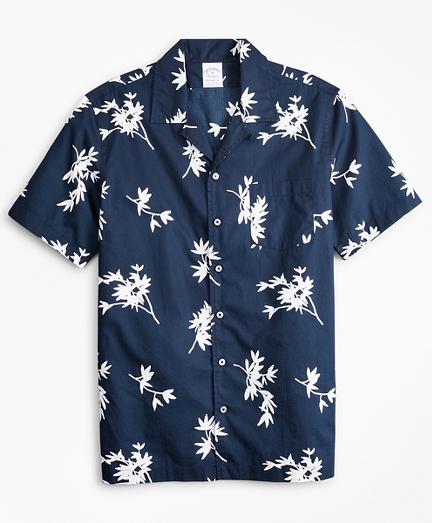 Regent Fitted Sport  Shirt, Poplin Camp Collar Short-Sleeve Floral Print