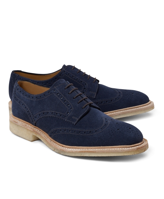 Suede Perforated Wingtips Navy