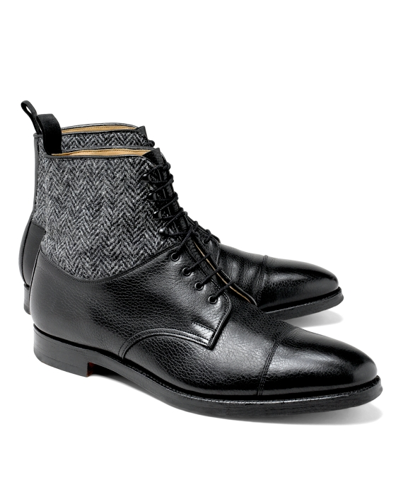 Peal & Co.® Leather and Tweed Boots Black