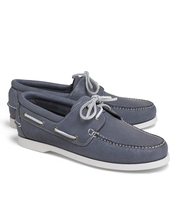 Washed Leather Boat Shoes Light Blue