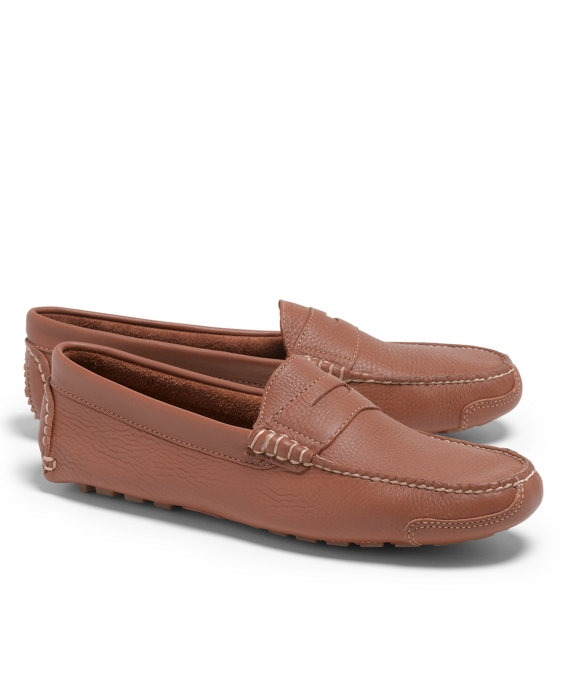 Pebble Leather Driving Mocs Caramel