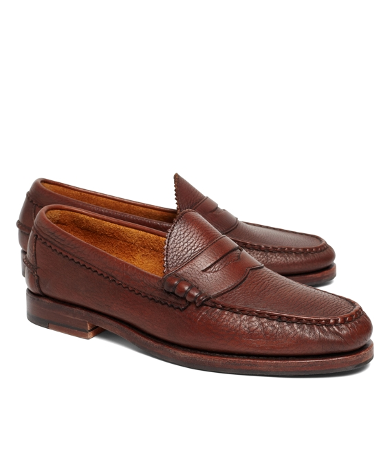 Allen Edmonds Beef Roll Pebble Penny Loafers Brown